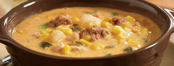 Chaudrée de Maïs au Poulet et au Chorizo à la Mijoteuse