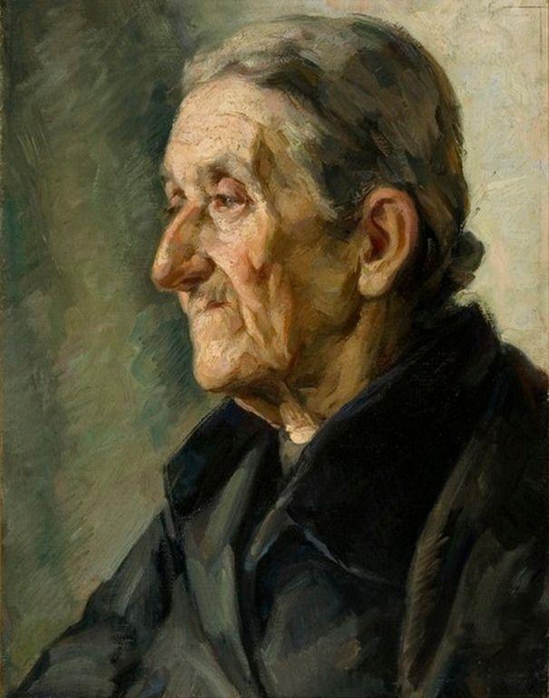 Κεφαλή γρηάς, 1925 ,Καραφυλλάκης Αντώνιος – Head of an old woman 1925,oil by Antonios Karafillakis [1908 - ?]