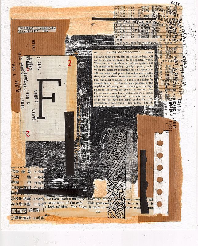 Collage - cut and paste - paper - book pages - ink - silver leaf