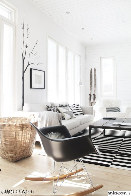 Black and white living room from Styleroom.fi