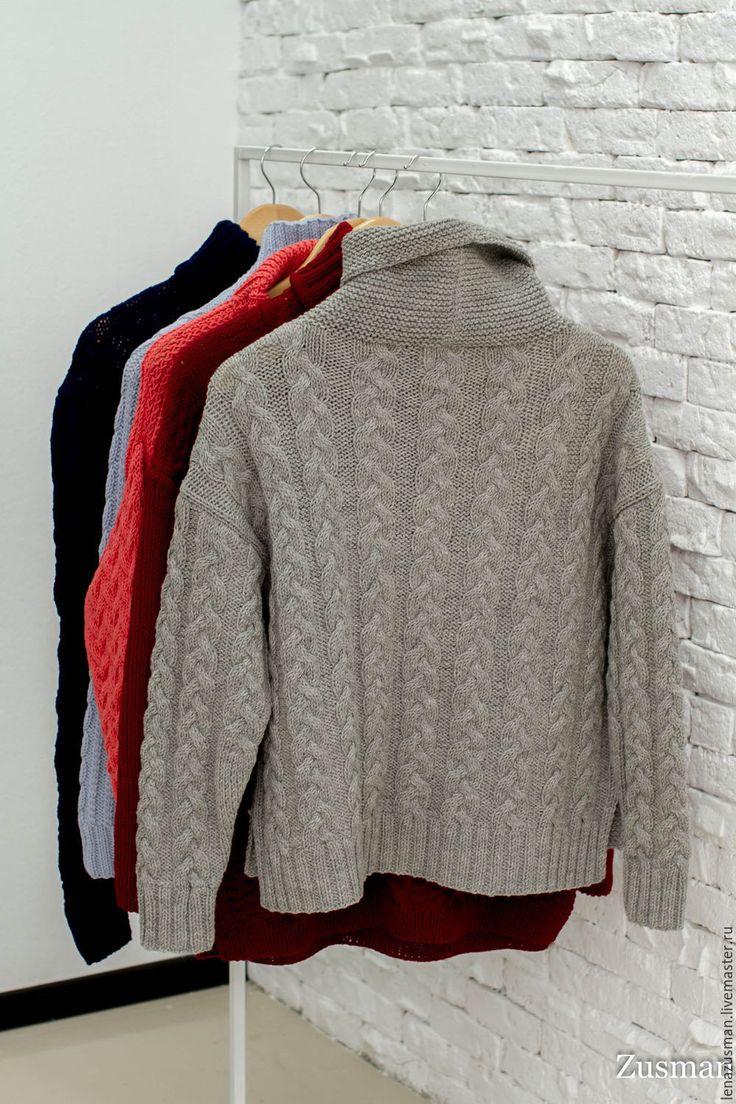 Купить Модный свитер. Шерсть100%. Копия Max Mara - серый, шерсть 100%, alize, вязание