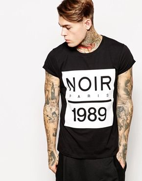 ASOS T-Shirt With Monochrome Plastisol Print And Rolled Sleeve Skater Fit