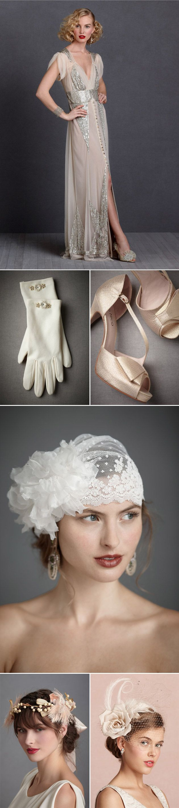 20s Fashion Inspiration by BHLDN   Check out the cap veil on this