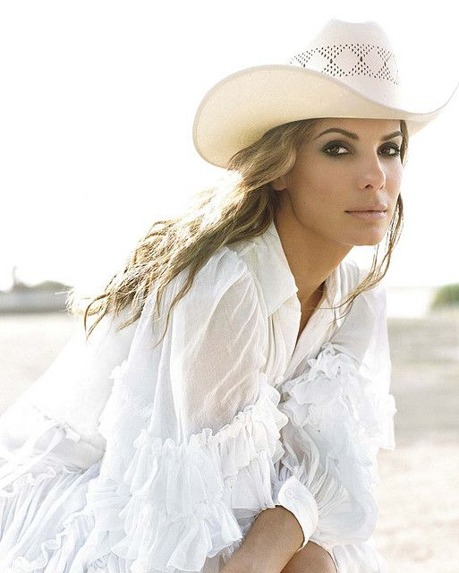 Sandra Bullock - one of my fave pics of her. - love the blouse and hat!!