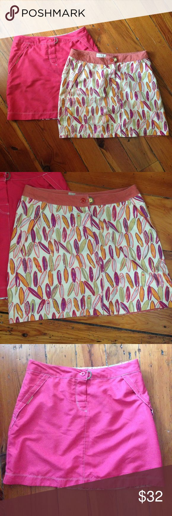 "Two Aventura Quick-Dry Mini Skirts Two mini skirts from Aventura Clothing by Sportif, EUC. 100% polyester, quick-dry material, so they are great for hiking or even as a cover-up. Mesh pockets with Velcro closure. Velcro and button closure at waist. The printed skirt is size 4 with approximate measurements of 15"" waist and 16"" length. The size tag in the coral skirt has been removed by previous owner, but has 14"" waist and 16"" length. Aventura Clothing by Sportif Skirts Mini"