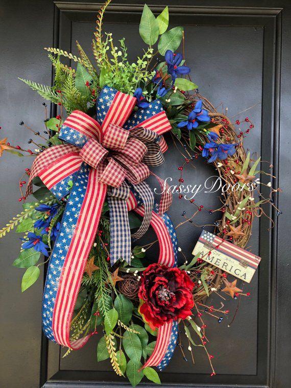Americana Wreath, Patriotic Wreath, Sassy Doors Wr…