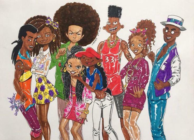 Older versions of various Afro American cartoon characters