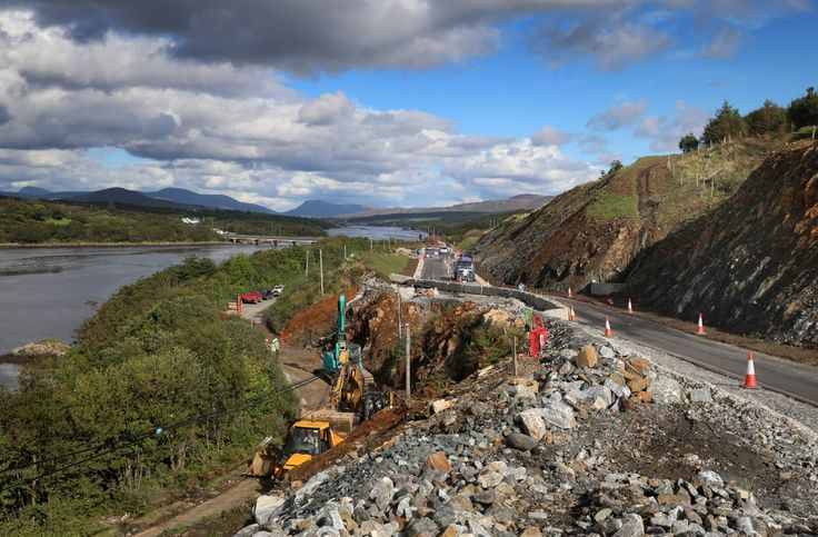 A section of the new road and the old road (below) with Gweebarra Bridge in the background. Pic Declan Doherty