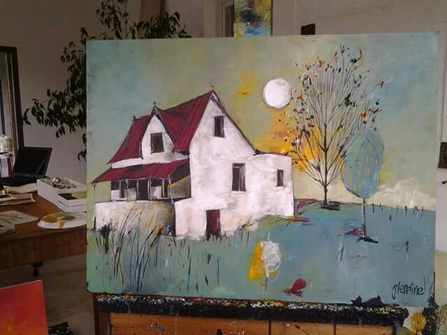 'Karoo moon' Acrylic on stretched canvas by artist Glendine
