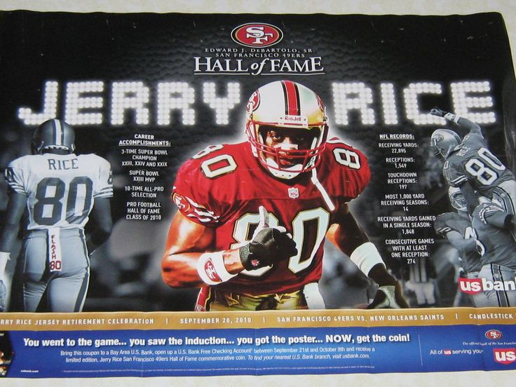 Jerry Rice Poster (retirement Celebration) Hall Of Fame  9/20/10 Plus Gift from $49.95
