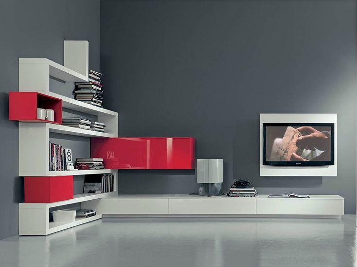 Mueble modular de pared lacado con soporte para tv SIDE 10 by Fimar