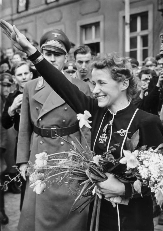 Hanna Reitsch - Germany's most famous female aviator and test pilot, starting in the early 1930s. During the Nazi era, she served as an international representative for the regime. She was awarded an Iron Cross by Hitler and remained an ardent National Socialist until the end of her life.