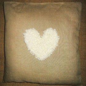 pillow cushion pad interior декор Подушки для интерьера. Подушки для фотосессий. Декорирование. Инициализация. Сердце, вышивка лентой. Цвет молочный. Чехол кофейный.