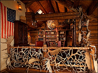 Library with Elaborate Antler Decoration