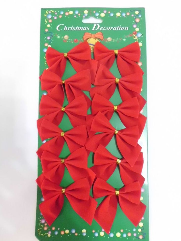 Christmas Tree Decoration/Home Ornaments-----12 Red Cloth Bowknots Size:5.5cm #Unbranded