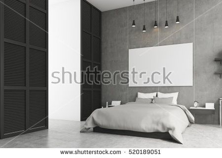Side view of a bedroom interior with king size bed, bedside table and a large window in a black wall. Horizontal poster is hanging above the bed. 3d rendering. Mock up.