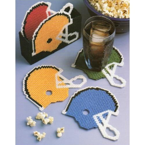 free plastic canvas coaster patterns | Football Helmet Coaster Set (Home Decor) Plastic Canvas Pattern