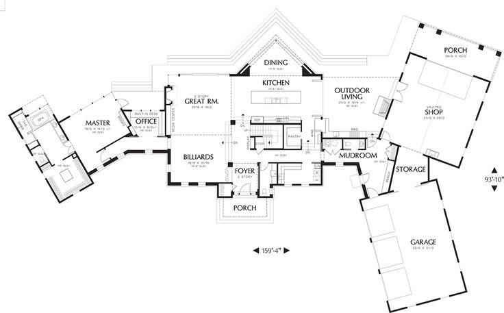 Modern Style House Plan - 4 Beds 5.5 Baths 4887 Sq/Ft Plan #48-468 Floor Plan - Main Floor Plan - Houseplans.com