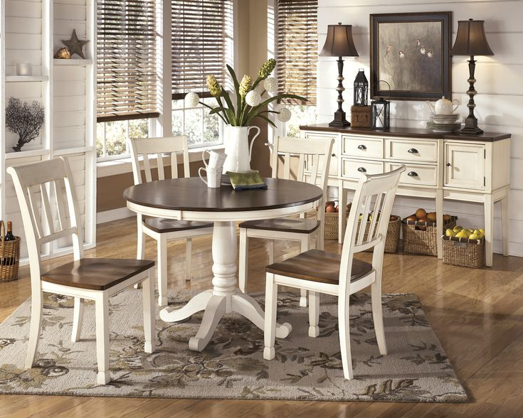 Ashley Furniture Whitesburg Round Dining Room Table With The Warm Two Tone Look Of Cottage White And Burnished Brown Finishes Beautifully Accenting