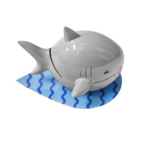 Soporte cepillos dentales Shark adhesivo gris