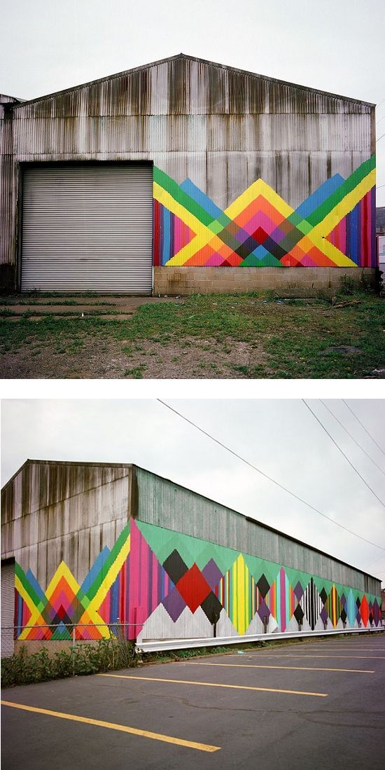by Maya Hayuk via theartcake.com. Love the pattern and the life it brings. Great idea for wooden or concrete fences.