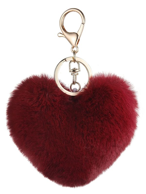 0fd4e97d39 Heart Shaped Pom Pom Keychain -SheIn(Sheinside) | Make Your ...