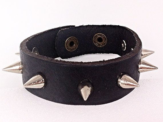 Genuine Leather Cuff Bracelet w/ Silver Spikes