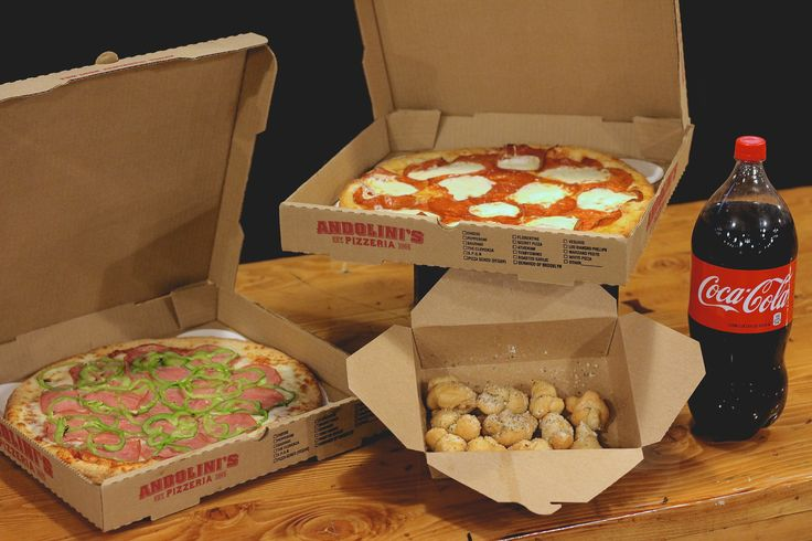 """This is not a drill! The Andolini's Monday Night Football Special is happening now and you're not gonna want to miss out. For $29, you'll get two, two-topping 14"""" pizzas, an order of garlic knots, and a two-liter of Coke. This special is redeemable for pick-up only at any (that's right, ANY) Andolini's location. We repeat, not. a. drill."""