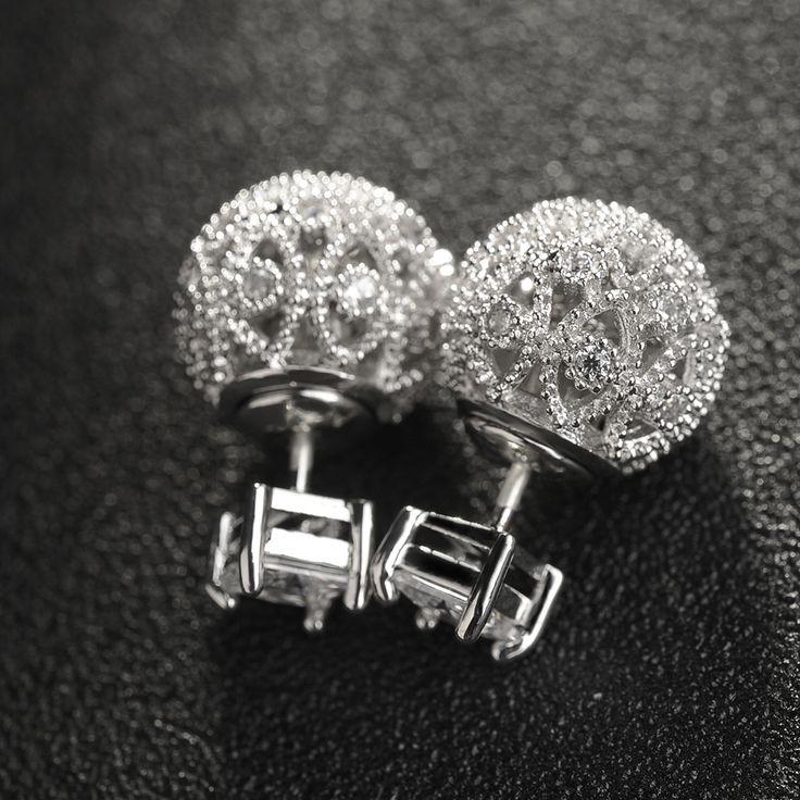 New Fashion Jewelry Hollow Out Double Side Stud Earrings Micro Pave CZ Diamond Earrings For Women Chrismas Gift Stud Earrings