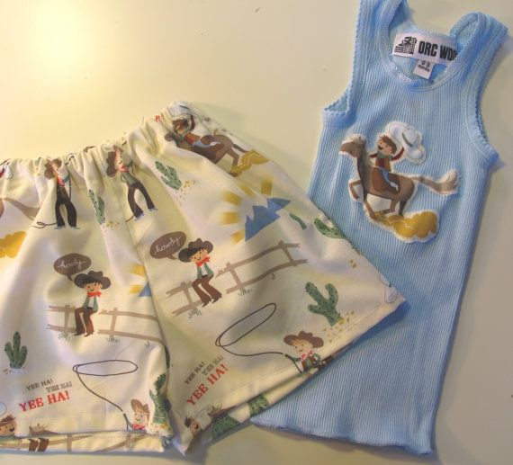 Baby Boy Short and Singlet / Tank Set  Cowboy Print by orcwood, $25.00