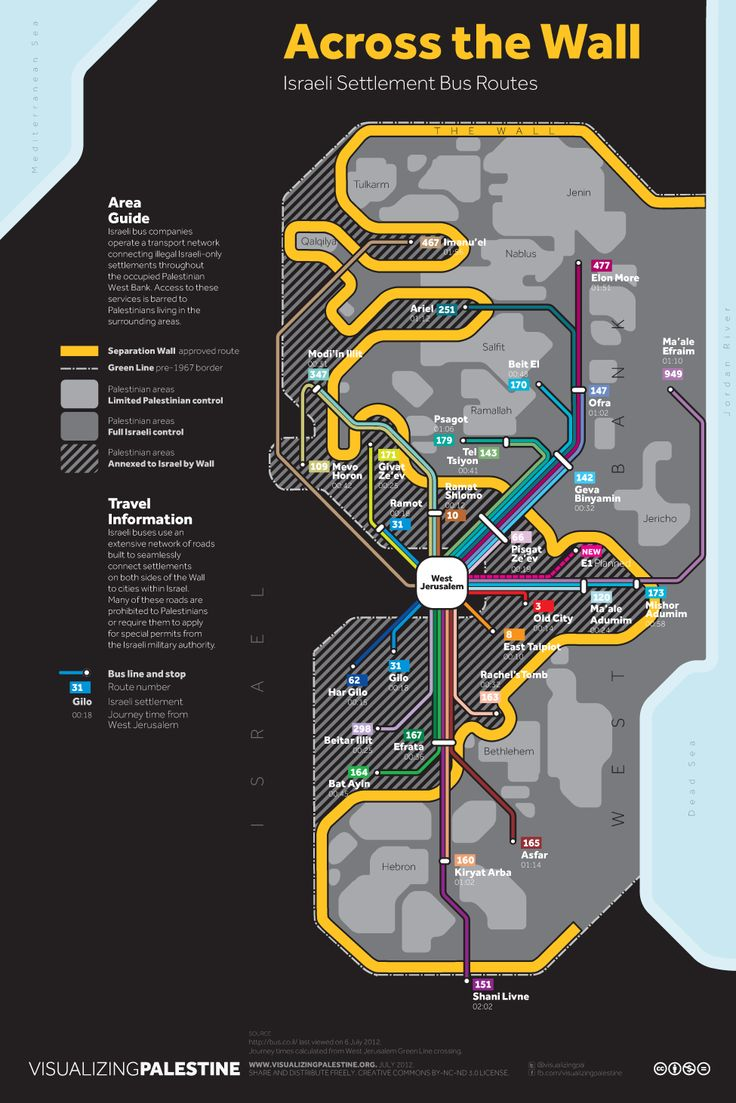 Bus Routes of Greater Israel/Palestine: The first map presents the services from an Israeli perspective, while the second map presents them from a Palestinian perspective.