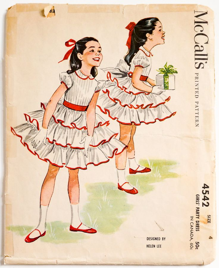 Vintage 1950s Girls Size 4 Helen Lee Party Dress McCalls Sewing Pattern 4542 Complete / b23 w21 / Tiered Ruffled Skirt by AttysSproutVintage on Etsy