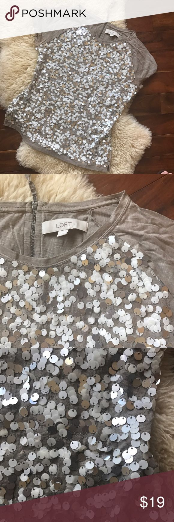 ✨✨Ann Taylor Loft Mermaid Scales T-shirt ✨✨ Very pretty neutral beige t-shirt with mermaid scale sequin on the front. Beautiful for summer! Zip back. Comfy and light weight. LOFT Tops Tees - Short Sleeve