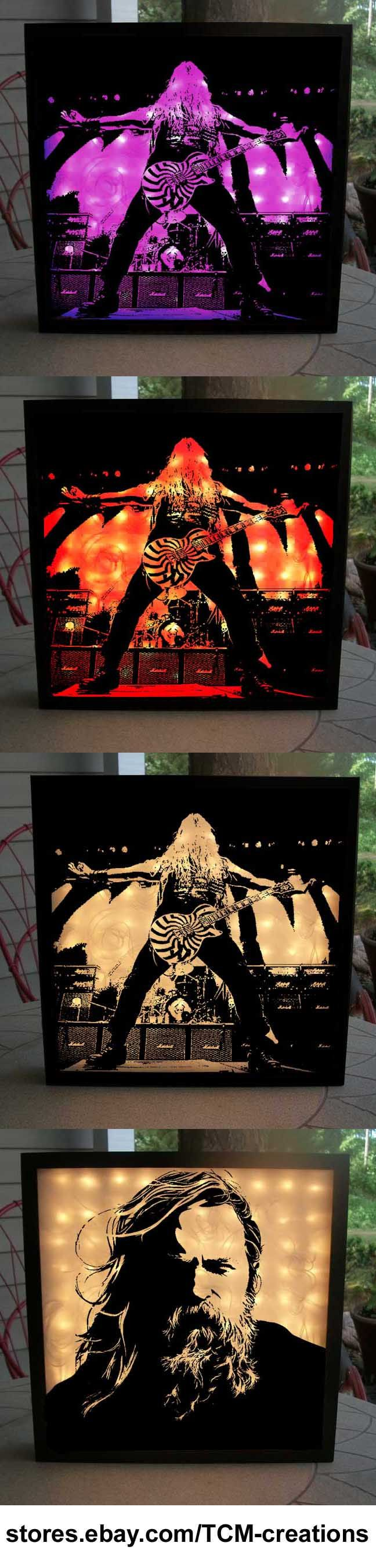 Zakk Wylde Shadow Boxes with LED lighting. Black Label Society, Pride & Glory, Ozzy Osbourne, Sonic Brew, No Rest For The Wicked, No More Tears, Ozzmosis, The Bessed Hellride, Shot To Hell, 1919 Eternal, Book Of Shadows, Stronger Than Death, Hangover Music Vol. 6, Mafia, Order Of The Black, Catacombs Of The Black Vatican.