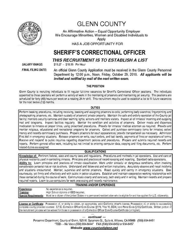 resume for juvenile detention officer http www
