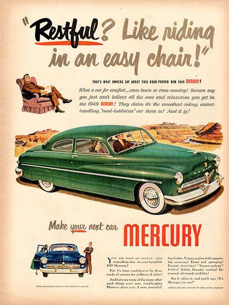 1949 Mercury Original Car Print Ad