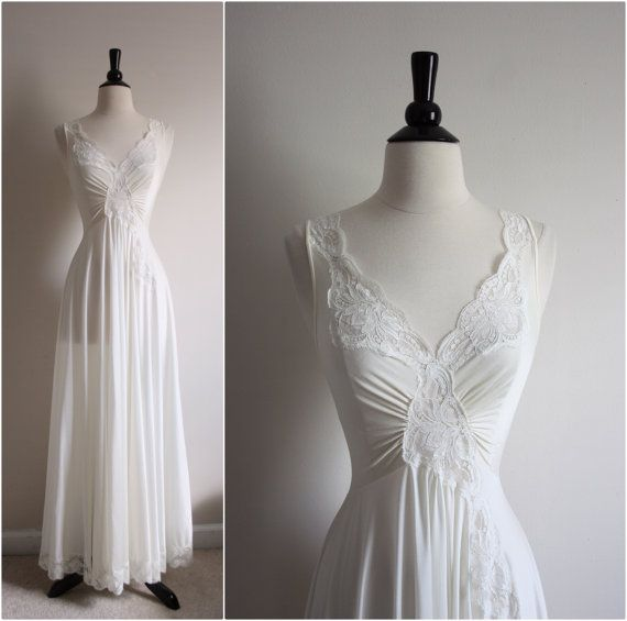 Vintage 70's Olga Nightgown White/ Ivory Slip by PARASOLvintage