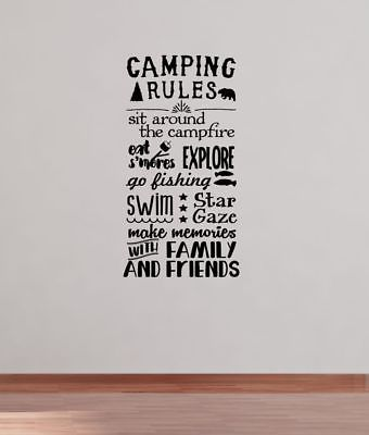 camping rules subway art wall decals sticker camper rv camp quote