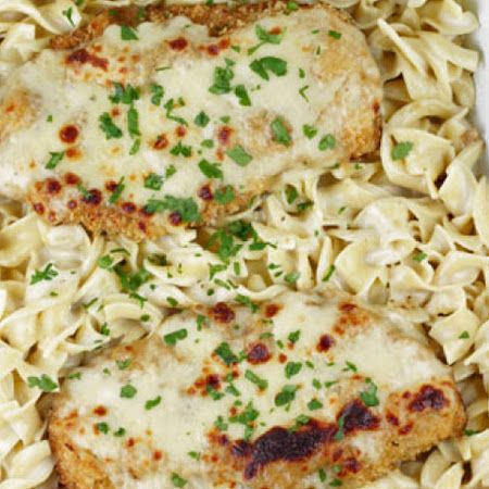 Oven Fried Swiss Cheese Chicken with Egg Noodles in a Creamy Sauce