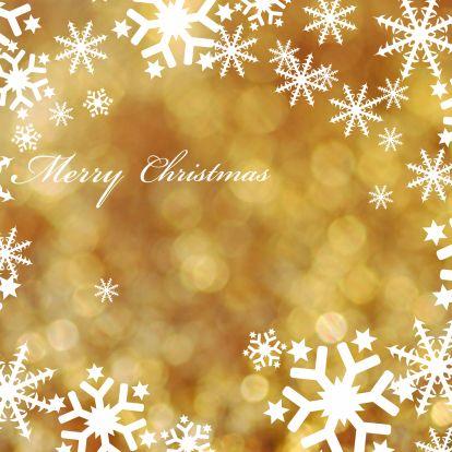 Kerstkaarten - gouden achtergrond met witte sterren