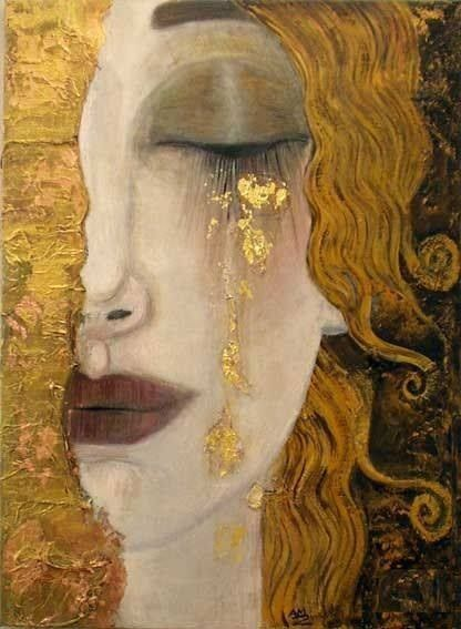 gustav klimt ( how about the gold leaf on eyelid, like shadow, rather than tears)