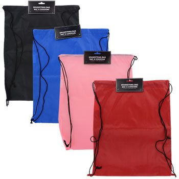 Lightweight knapsacks are ideal for toting gym clothes, school folders and binders, and preschool supplies! Each 18.25-in. knapsack features a roomy main compartment with a convenient drawstring and t