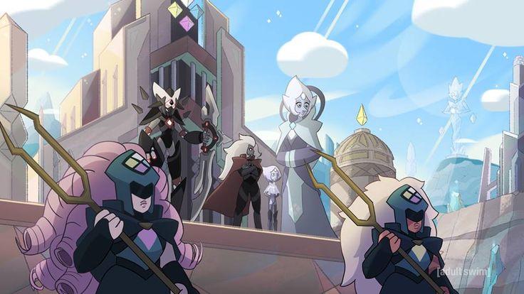 FanArt do que parece ser o exército da White Dimond. Uma Jasper e uma Quartzo Rosa como saldados, uma White Pérola, Oque parece ser um Jasper General (que passa as ordens aos soldados Jaspers) e uma figura arqueira desconhecida. Será que esses são os personagens que já conhecemos?!