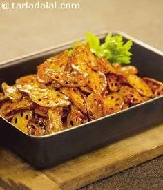 Though traditionally associated with Sindhi cuisine, crisply fried lotus stems with honey, can be made into a great Chinese stir-fry too!