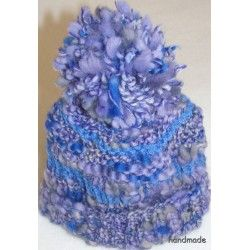 Čepice dětská ručně pletená, fialová, vel. 0 - 1,5 roku