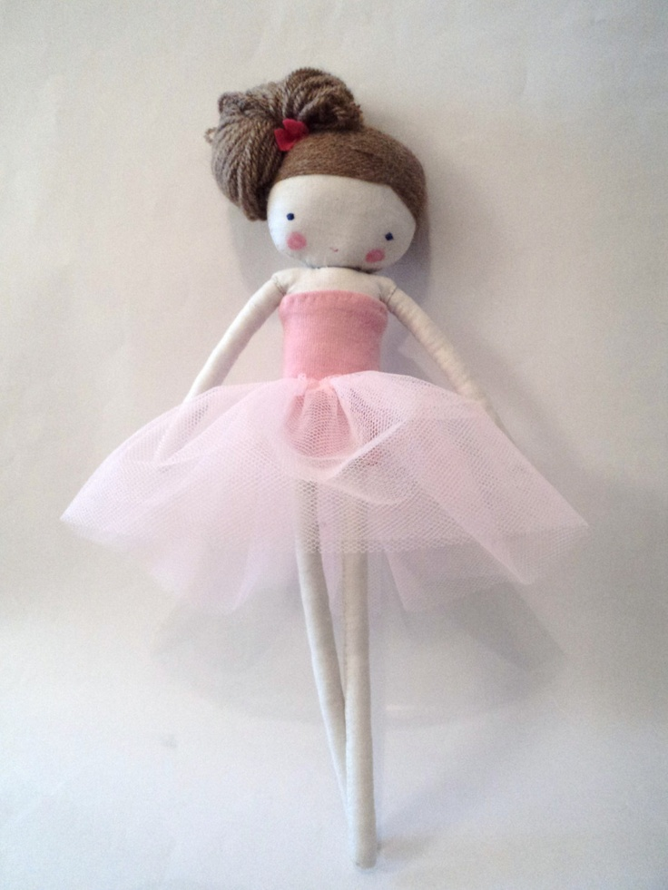 Custom order for Karen ballerina rag doll - plush toy cloth art doll ballerina in pink tutu dance ballet ojos azules. $33.50, via Etsy.