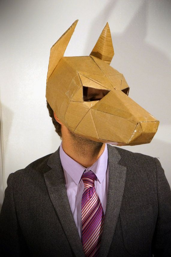 Dog mask, make your own animal mask from recycled card