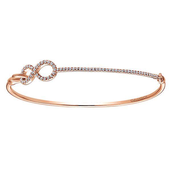 14k Pink Gold Byblos Style  Bangle Diamond