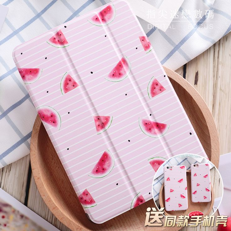 """For New iPad 9.7 2017 Pink Watermelon Girl Love Flip Cover For iPad Pro 9.7"""" Air Air2 Mini 1 2 3 4 Tablet Case Protective Shell"""