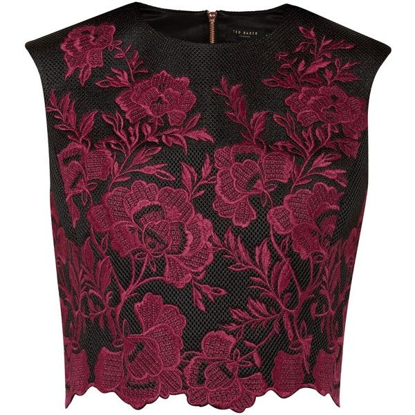 Ted Baker Vynus Embroidered mesh lace crop top ($200) ❤ liked on Polyvore featuring tops, shirts, crop top, crop, dark red, women, floral crop top, lace shirt, floral top and floral shirt